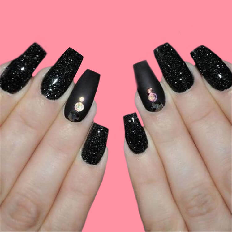 40 Cool Matte Black Coffin Nail Ideas to try 14