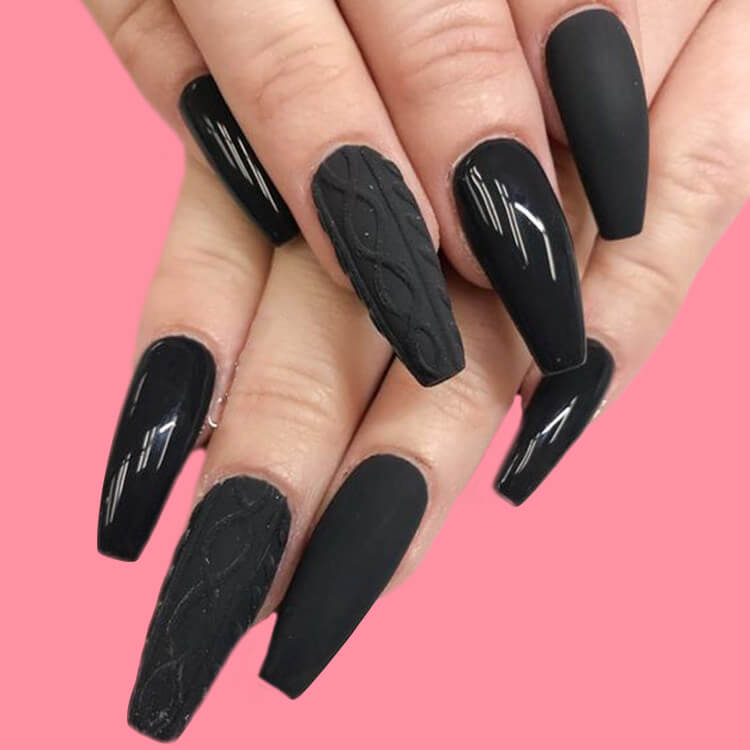 40 Cool Matte Black Coffin Nail Ideas to try 16