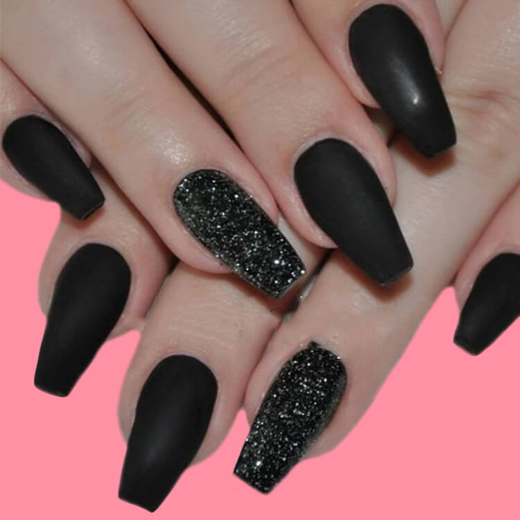 40 Cool Matte Black Coffin Nail Ideas to try 2