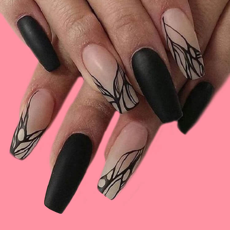 40 Cool Matte Black Coffin Nail Ideas to try 20