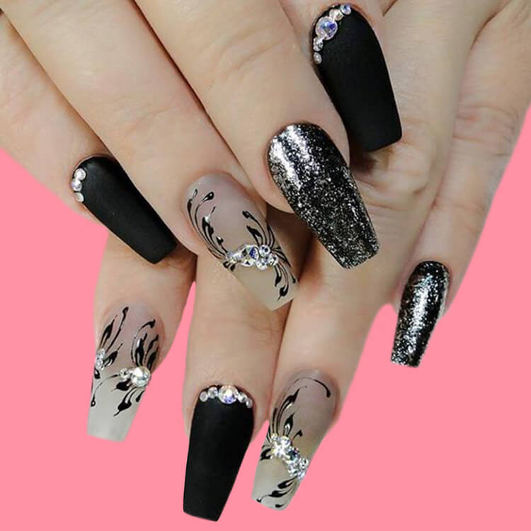 40 Cool Matte Black Coffin Nail Ideas to try 22