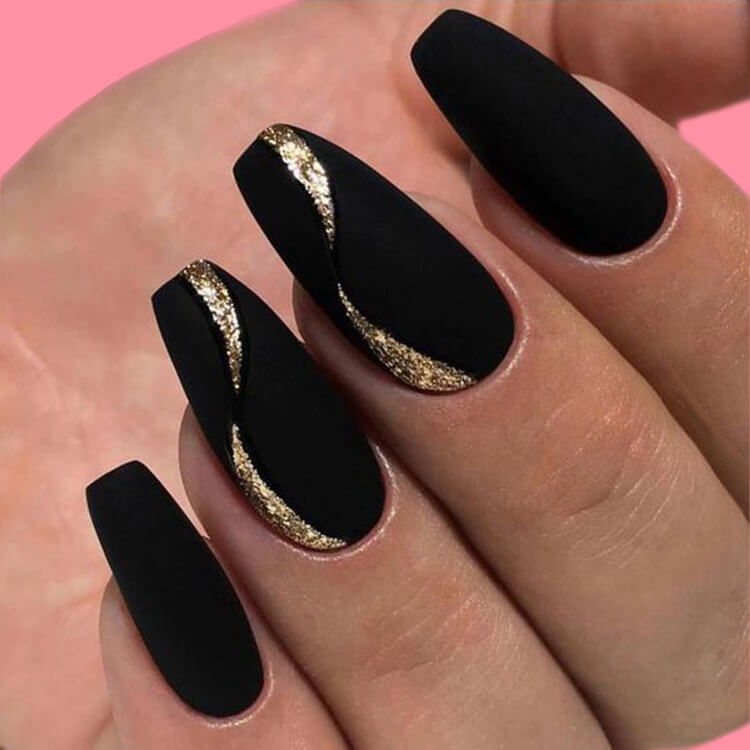 40 Cool Matte Black Coffin Nail Ideas to try 25