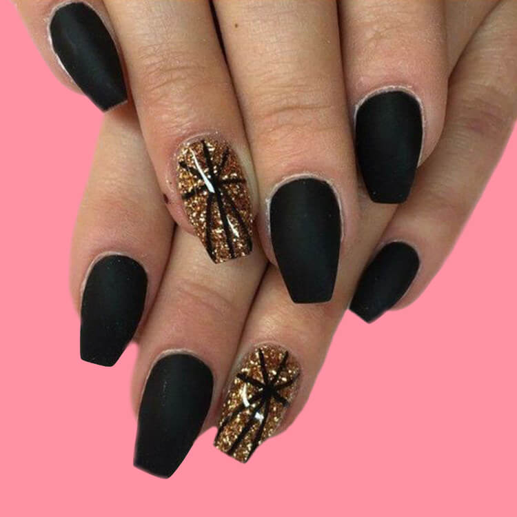 40 Cool Matte Black Coffin Nail Ideas to try 26