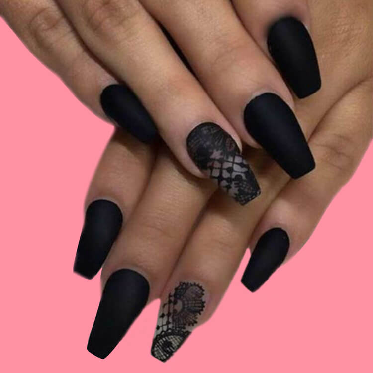 40 Cool Matte Black Coffin Nail Ideas to try 27