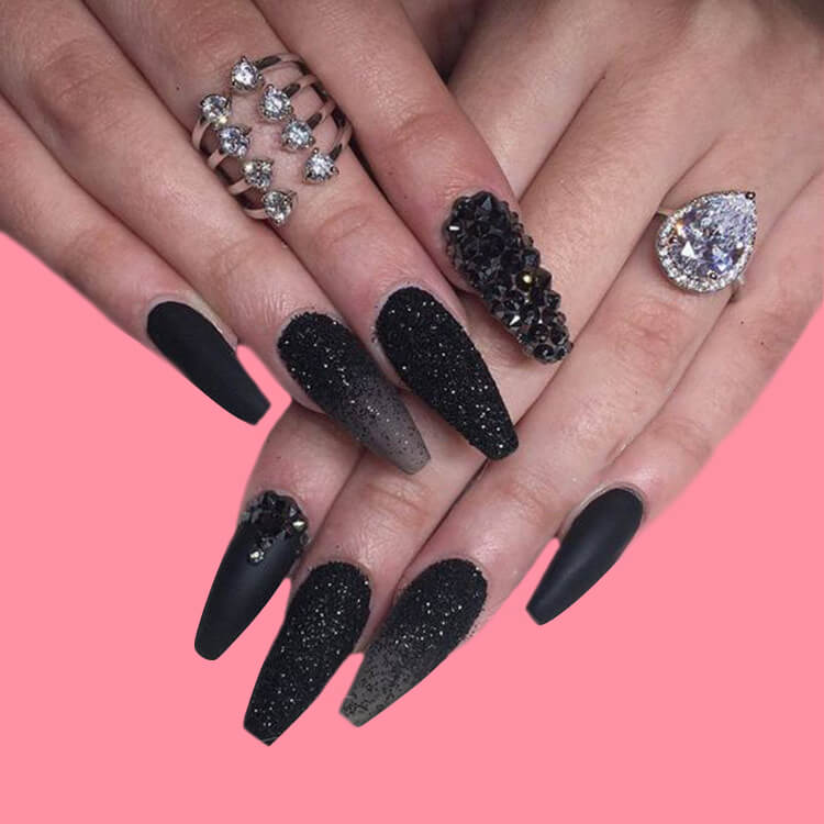 40 Cool Matte Black Coffin Nail Ideas to try 28