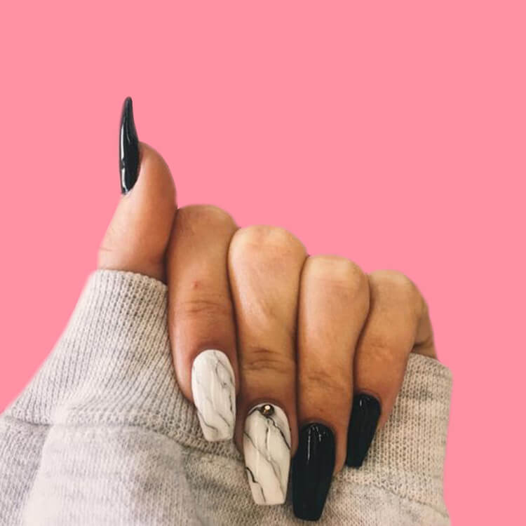 40 Cool Matte Black Coffin Nail Ideas to try 29
