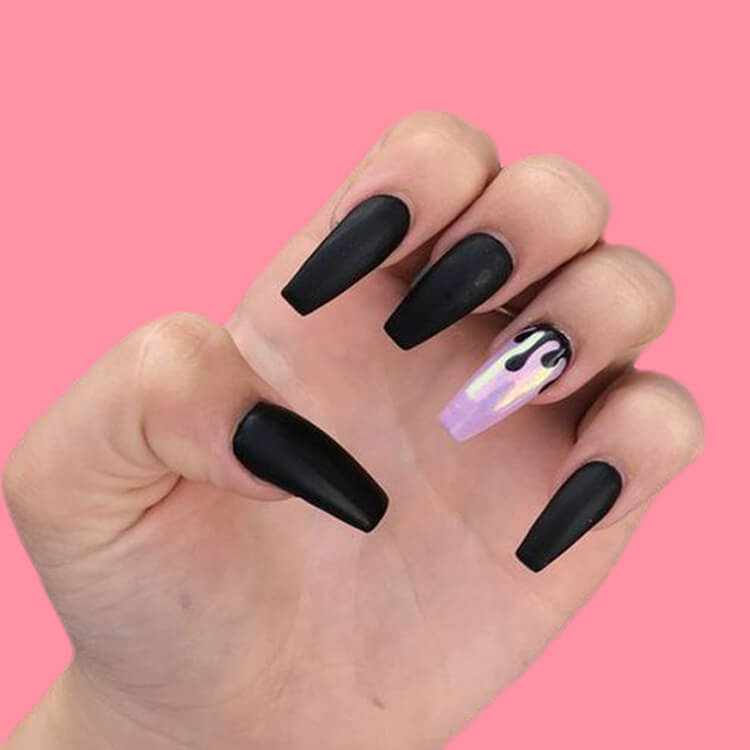 40 Cool Matte Black Coffin Nail Ideas to try 3