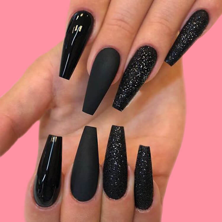 40 Cool Matte Black Coffin Nail Ideas to try 30