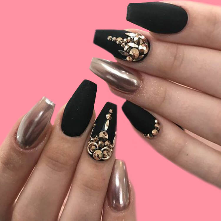 40 Cool Matte Black Coffin Nail Ideas to try 31