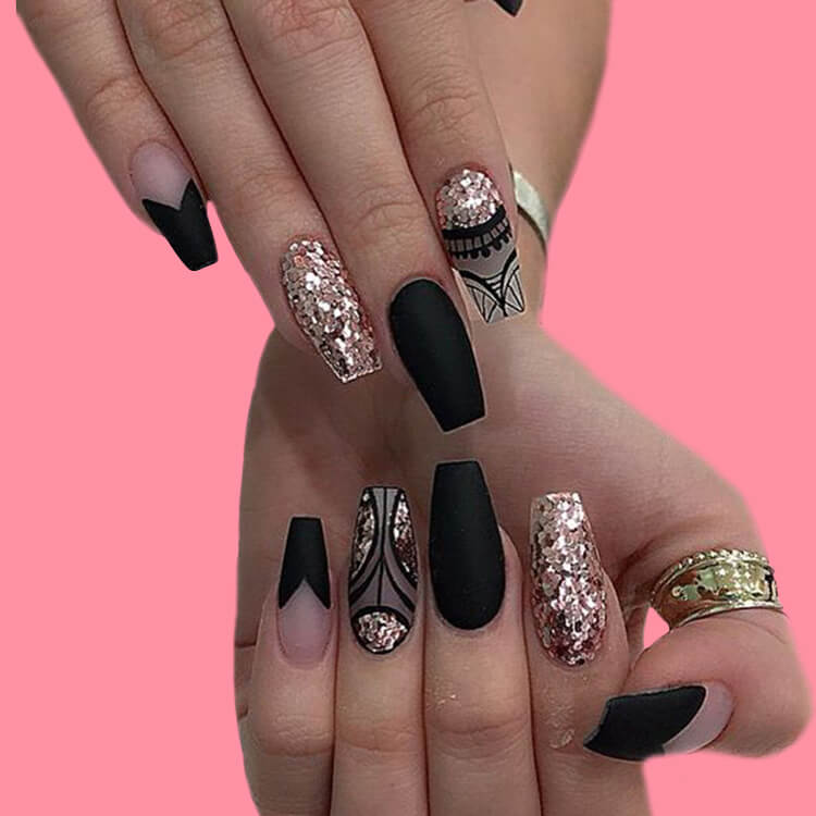 40 Cool Matte Black Coffin Nail Ideas to try 32