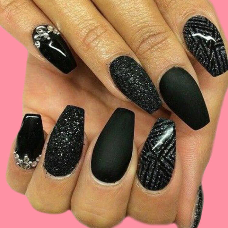 40 Cool Matte Black Coffin Nail Ideas to try 34