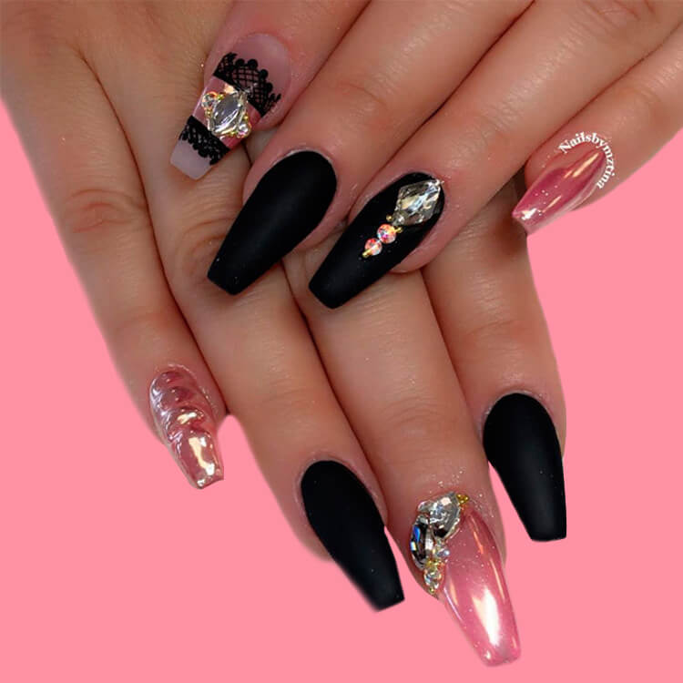 40 Cool Matte Black Coffin Nail Ideas to try 35