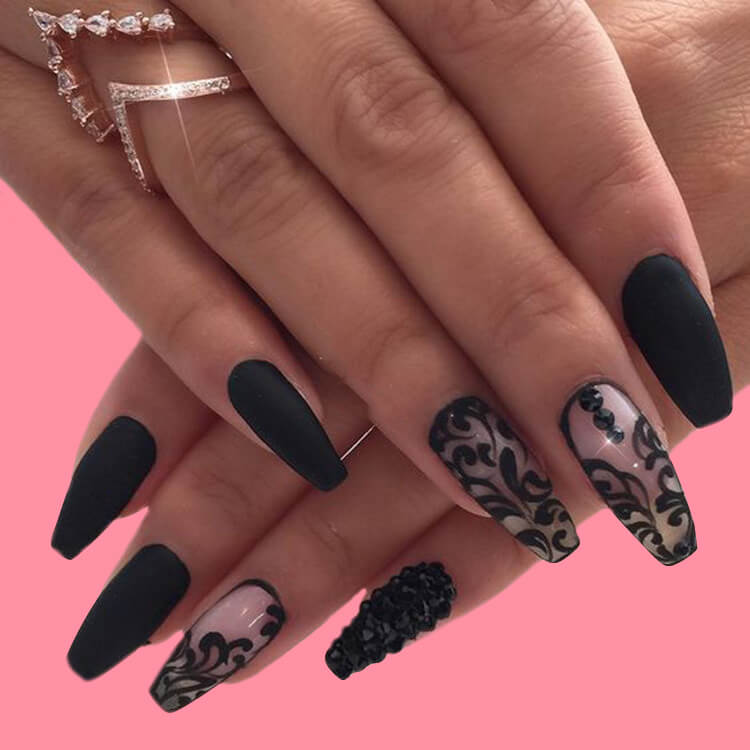 40 Cool Matte Black Coffin Nail Ideas to try 36