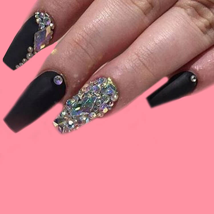 40 Cool Matte Black Coffin Nail Ideas to try 38