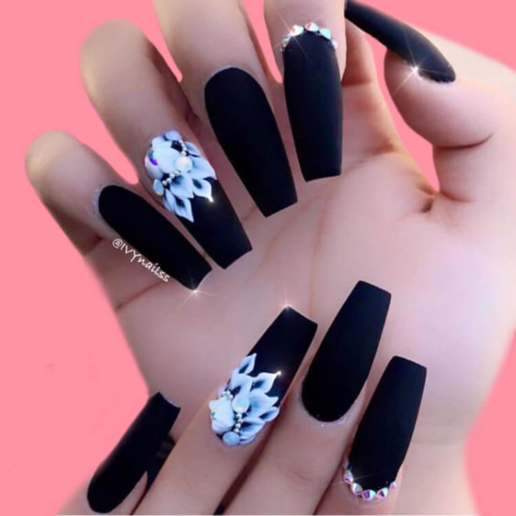 40 Cool Matte Black Coffin Nail Ideas to try 39
