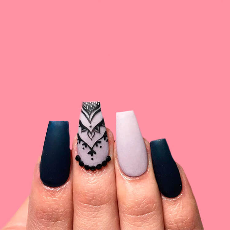 40 Cool Matte Black Coffin Nail Ideas to try 7