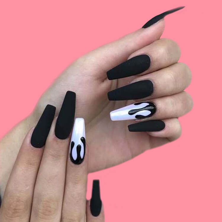 40 Cool Matte Black Coffin Nail Ideas to try 8