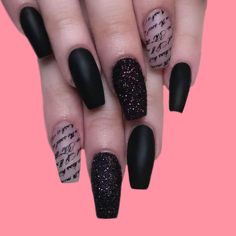 40 Cool Matte Black Coffin Nail Ideas to try 9