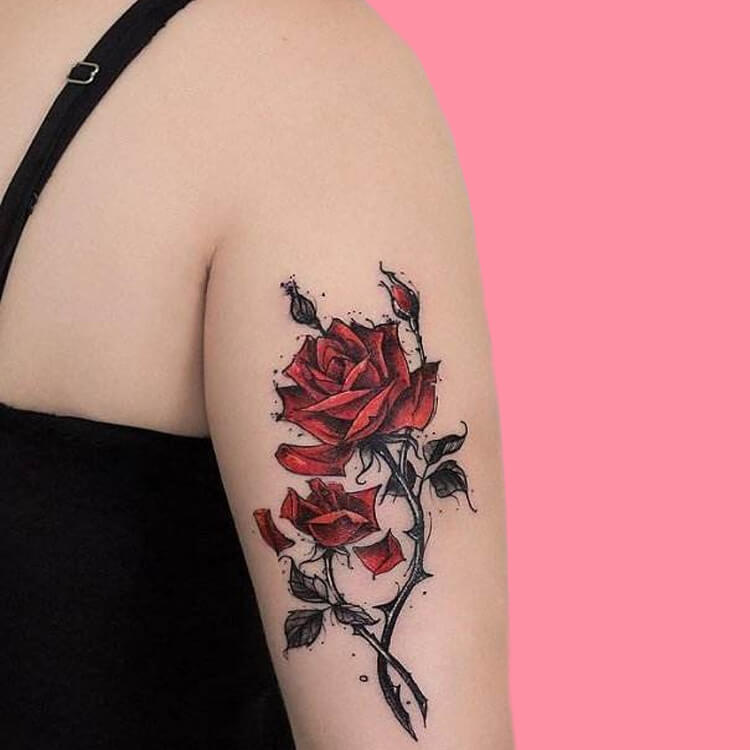 45+ Romantic Rose Tattoo Ideas to try for lady beauty 43