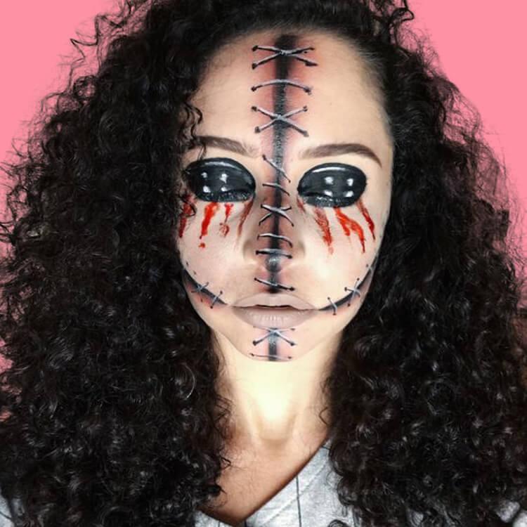 15 Creepy and Freaky VooDoo Doll Halloween Makeup Ideas 10