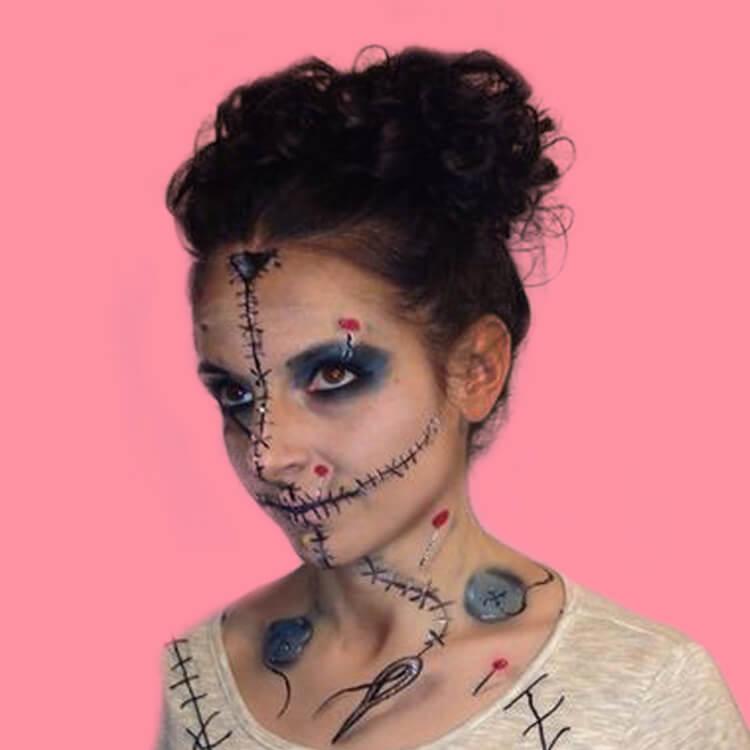 15 Creepy and Freaky VooDoo Doll Halloween Makeup Ideas 12