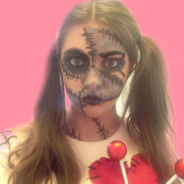 15 Creepy and Freaky VooDoo Doll Halloween Makeup Ideas 13
