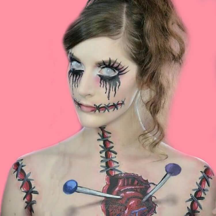 15 Creepy and Freaky VooDoo Doll Halloween Makeup Ideas 14