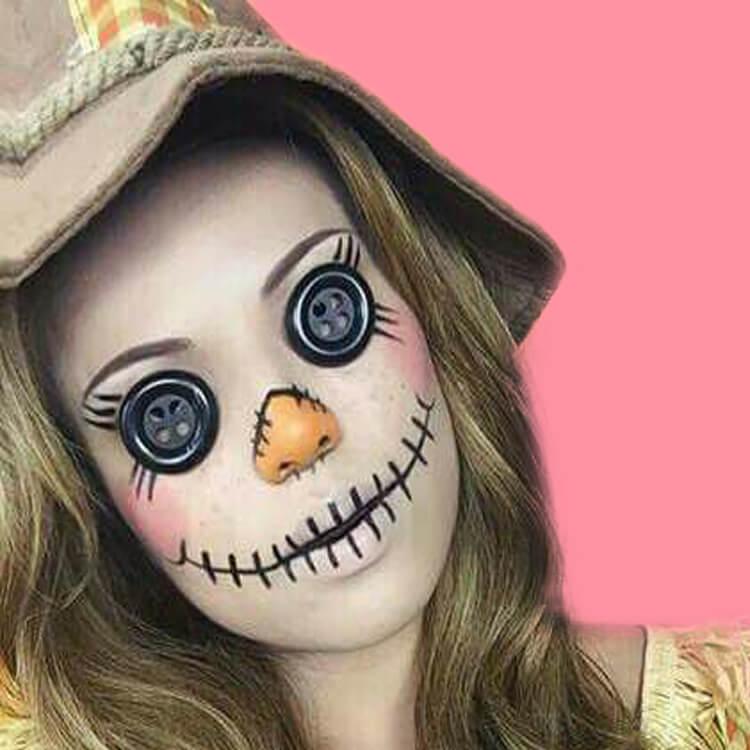 15 Creepy and Freaky VooDoo Doll Halloween Makeup Ideas 15