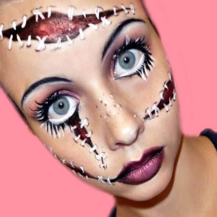 15 Creepy and Freaky VooDoo Doll Halloween Makeup Ideas 4