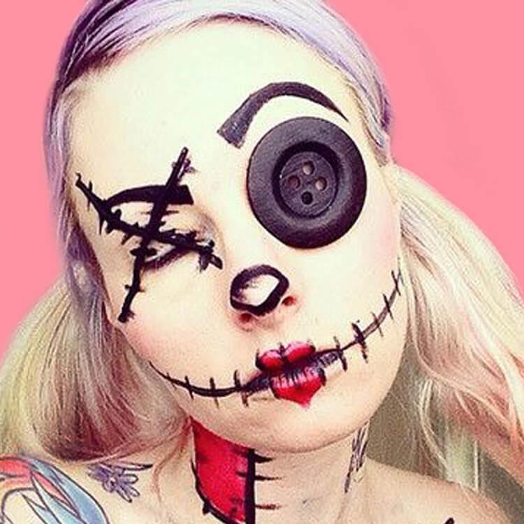15 Creepy and Freaky VooDoo Doll Halloween Makeup Ideas 6