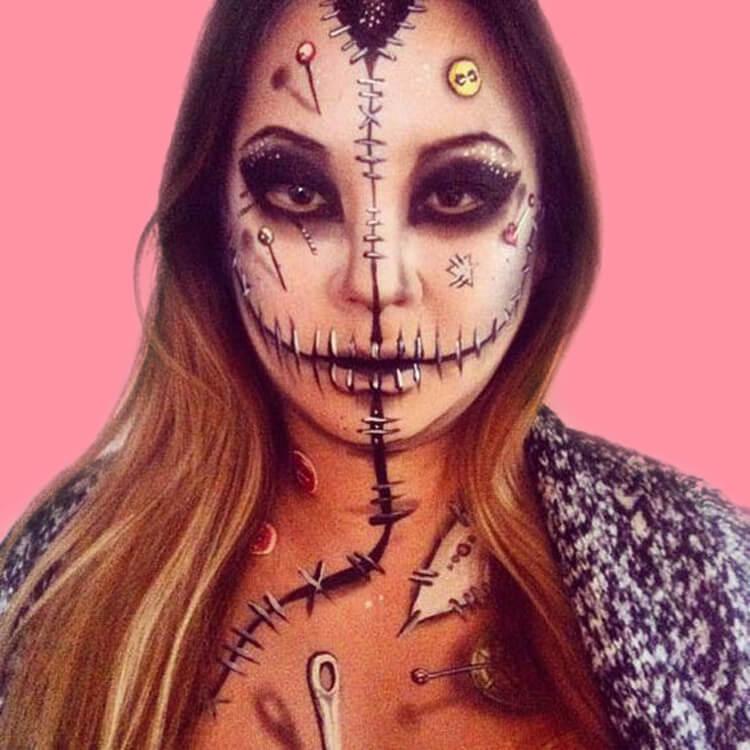 15 Creepy and Freaky VooDoo Doll Halloween Makeup Ideas 7
