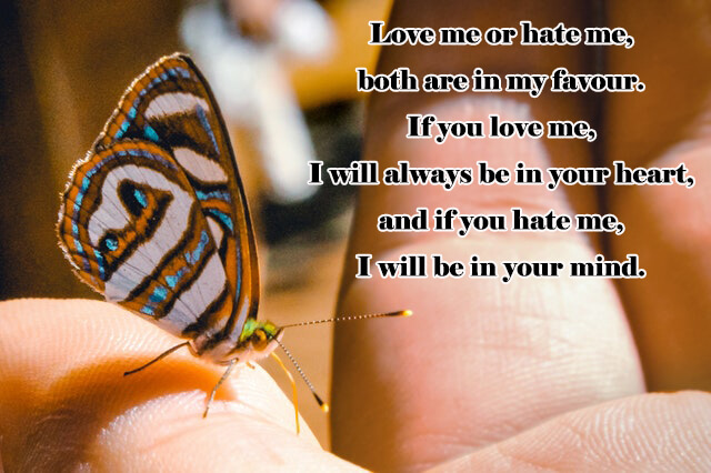 Quotes: Love me or hate me, both are in my favour. If you love me, I will always be in your heart, and if you hate me, I will be in your mind.