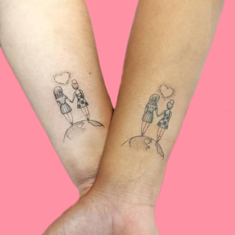 30+ Meaningful Matching BFF Tattoos Designs to Try for Ladies and Sisters 54